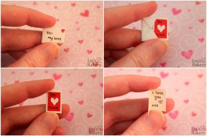 Miniature Valentine card in envelope by EmisBakery