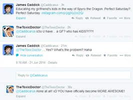 The AMAZING Caddicarus  Replied to a Tweet of mine by TheToxicDoctor