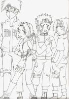 Naruto Group line art by bunnify