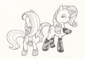 Fluttershy And Rarity IN SOCKS by AQNichols