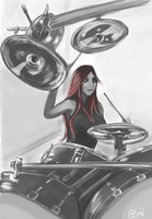 Drummer Chick by BloodyWing