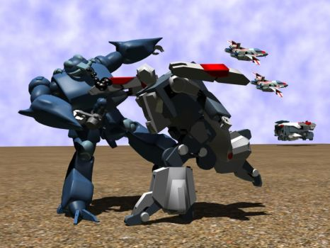 Hovertank fighting Bioroid by X1Commander