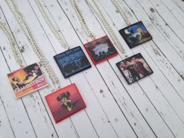 Fall Out Boy album necklaces by InsaneJellyBean95