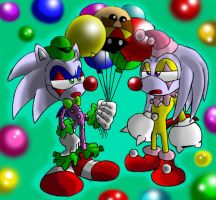 Clown sonic and Clown knuckles by Virus-20