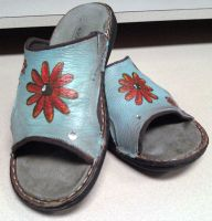 painted leather sandals by themanda