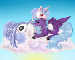 Commission - Moonstone and Starlight on a Cloud by tasertail