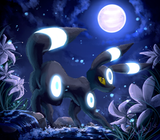 .:Moons Charm:. Shiny Umbreon by EvilQueenie
