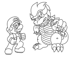 Mario vs. Bowser LINEART by KoopaKrazy85