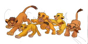Simba's cubs - all of them by GreatMarta