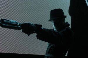 Comic Con 2015: Rorschach front of neon billboard by Omnipotrent