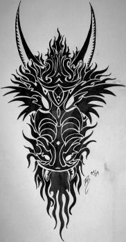 dragon head tribal by SwarzezTier
