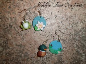 Pond animals earrings polymer clay by Nakihra