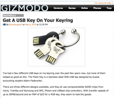 FlashKey Design on Gizmodo by gamesandgigs