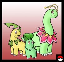 Chikorita Family by ZappaZee