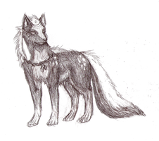 Demon Dog Drawing Uncolored by Chardove
