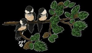 Three Chickadees by APerfectDayStudio