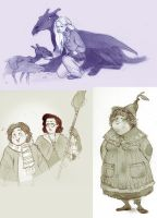 various HP fan doodles by luve
