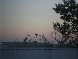Sunset and wind farm by pispispis