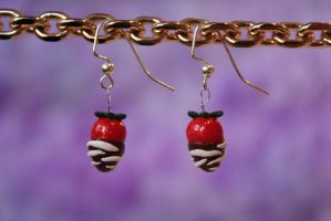 Chocolate Covered Strawberry Earrings by AnnalaFlame