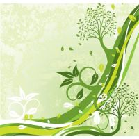 Green Floral art background by cgvector