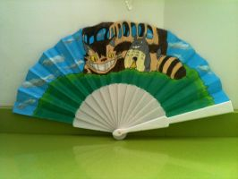 Totoro hand painted fan by anapeig