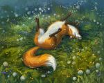 Fox And Dandelions by LouieLorry