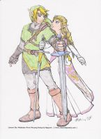 Link and Zelda  colored by lancehunter17