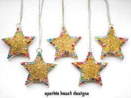 Golden Glitter Rainbow Gem Resin Stars by Natalie526