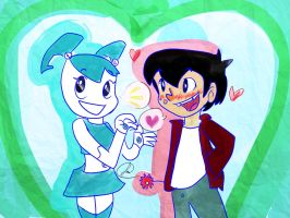 Jenny and Sheldon art trade uvu by Kirby-Gir