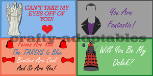 Doctor Who Valentines Cards Set of Four (CHEAP) by superwholock99