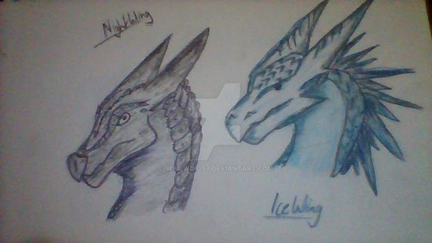IceWing and NightWing (Head Shots) by Soulwings7