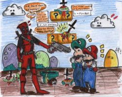 Deadpool Vs. Mario Bros. by ANTONIOMASTERPERES