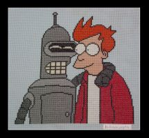 Fry and Bender - Cross stitch by bulmaxvegeta