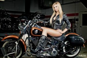 Alice in Leather jacket on motorcycle by River213