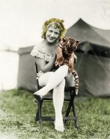 Blonde lady with Tiger by Thelema001