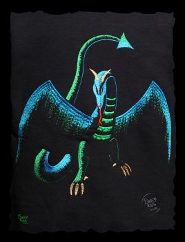 Shadow Dragon embroidery detail by FancyTogs
