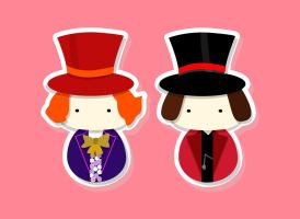 Kokeshi - Which one is Willy Wonka by smallrinilady