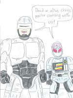 Robocop and Jiban by Jose-Ramiro