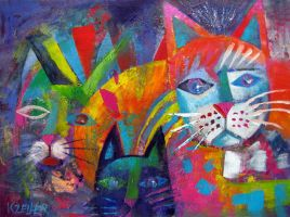 Colourful cats 2 by karincharlotte