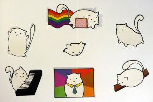 Fat Cat Meme Stickers by Keska