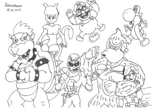 2nd Inktober - My favourite SSB fighters by Padrinodelanime