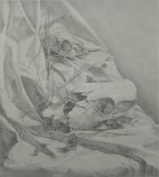 Skulls on white cloth drawing by jennieyu