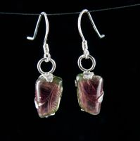 Carved Tourmaline Earrings by SoulStoneDesigns