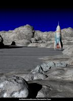 Stock Background:  Retro Style Rocket on Moon by ArtReferenceSource