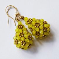 Beaded openwork earrings with jade and hematite by Sol89