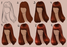 Semi-realistic STRAIGHT HAIR - step by step by Sandramalie