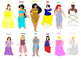 Plus Size Princesses by ColdHeartedCupid
