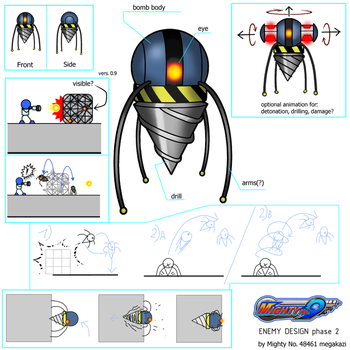 Mighty No 9 Enemy Design concept Phase 2 by K4Z1