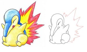 T_ no.155 cyndaquil by pitch-black-crow