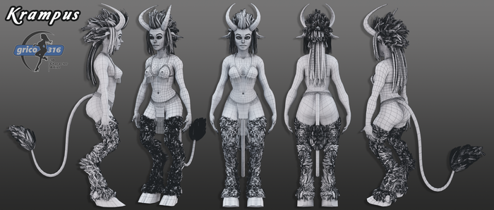 Krampus Character Sheet Wireframe Hair by grico316